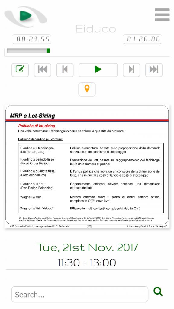 Figura 3: interfaccia web del modulo after-class, vista da smartphone